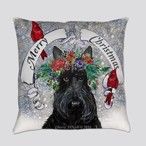 Snow Scottie Christmas Everyday Pillow