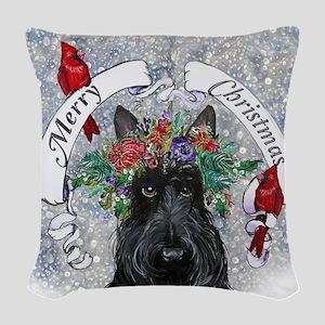 Snow Scottie Christmas Woven Throw Pillow