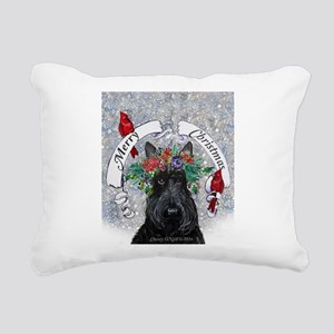 Snow Scottie Christmas Rectangular Canvas Pillow