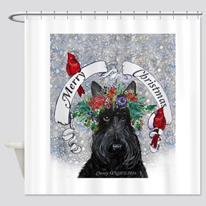 Snow Scottie Christmas Shower Curtain