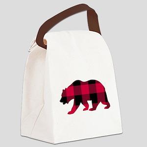 Buffalo Plaid Bear Canvas Lunch Bag