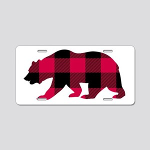 Buffalo Plaid Bear Aluminum License Plate