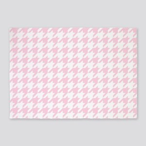 Pink, Baby: Houndstooth Checkered P 5'x7'Area Rug