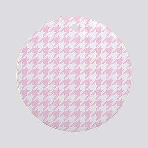 Pink, Baby: Houndstooth Checkered P Round Ornament