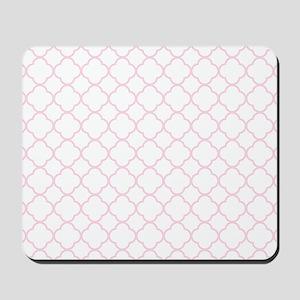 Pink, Baby: Quatrefoil Clover Pattern Mousepad