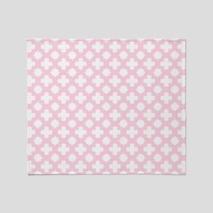 Pink, Baby: Quatrefoil Stars & Cross Throw Blanket