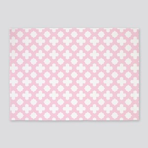Pink, Baby: Quatrefoil Stars & Cros 5'x7'Area Rug