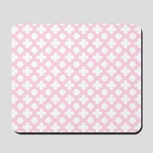 Pink, Baby: Quatrefoil Stars & Crosses P Mousepad