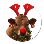 Christmas Cow Round Car Magnet