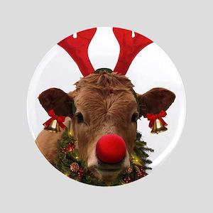 Christmas Cow Button