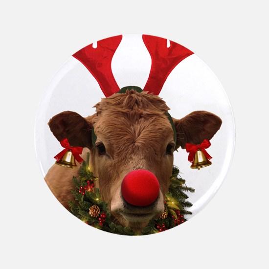 """Christmas Cow 3.5"""" Button (100 pack)"""