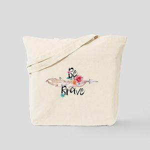 Be Brave Floral Arrow Tote Bag