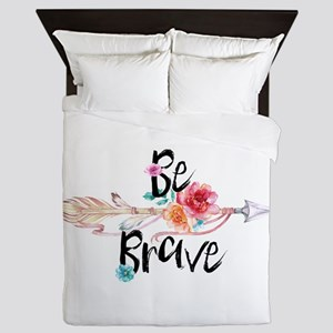Be Brave Floral Arrow Queen Duvet