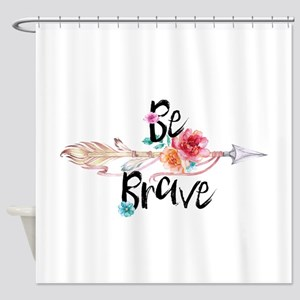 Be Brave Floral Arrow Shower Curtain