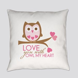 Love You With OWL My Heart Everyday Pillow