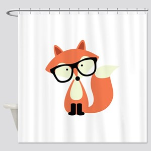 Cute Hipster Red Fox Shower Curtain