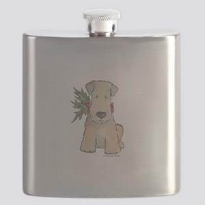 Wheaten Terrier with Holly Flask