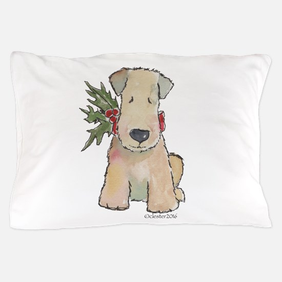 Wheaten Terrier with Holly Pillow Case