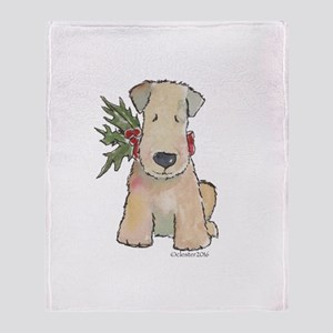 Wheaten Terrier with Holly Throw Blanket