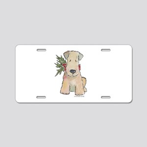 Wheaten Terrier with Holly Aluminum License Plate