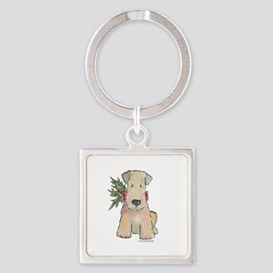 Wheaten Terrier with Holly Square Keychain