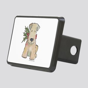 Wheaten Terrier with Holly Rectangular Hitch Cover
