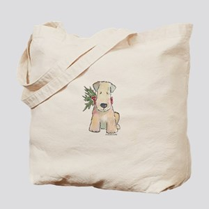 Wheaten Terrier with Holly Tote Bag
