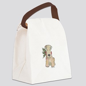 Wheaten Terrier with Holly Canvas Lunch Bag