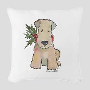 Wheaten Terrier with Holly Woven Throw Pillow