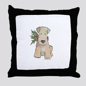 Wheaten Terrier with Holly Throw Pillow