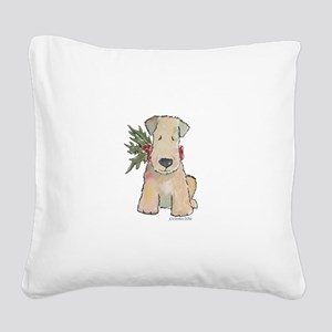 Wheaten Terrier with Holly Square Canvas Pillow