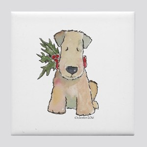 Wheaten Terrier with Holly Tile Coaster