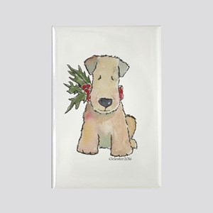 Wheaten Terrier with Holly Rectangle Magnet