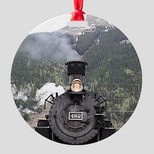 Steam train engine, Silverton, Colo Round Ornament