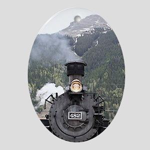 Steam train engine, Silverton, Color Oval Ornament