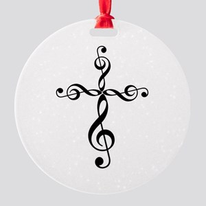 Treble Clef Cross Round Ornament