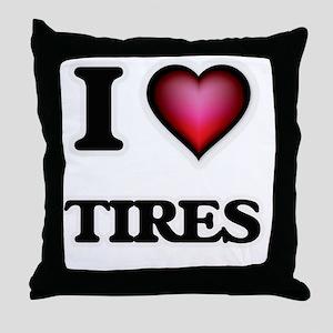 I love Tires Throw Pillow