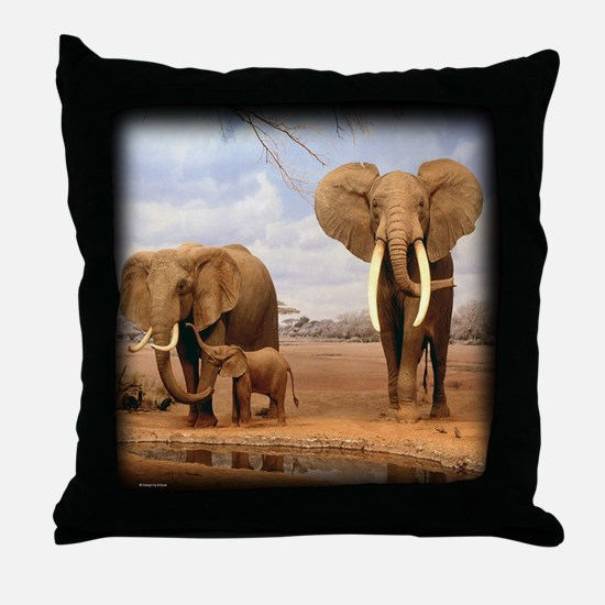 African Elephant Family Throw Pillow