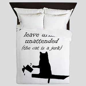 The Cat is a Jerk Queen Duvet