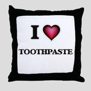 I love Toothpaste Throw Pillow