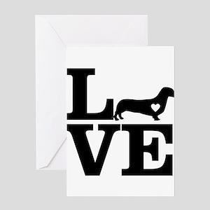 i love Dachshund Greeting Cards
