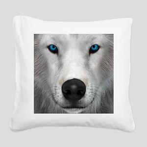 Arctic Wolf Square Canvas Pillow