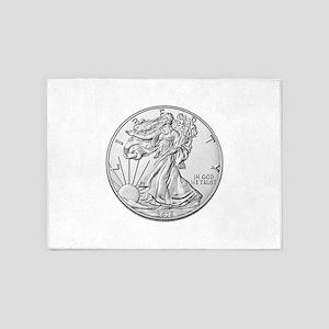 The Silver Eagle Coin 5'x7'Area Rug