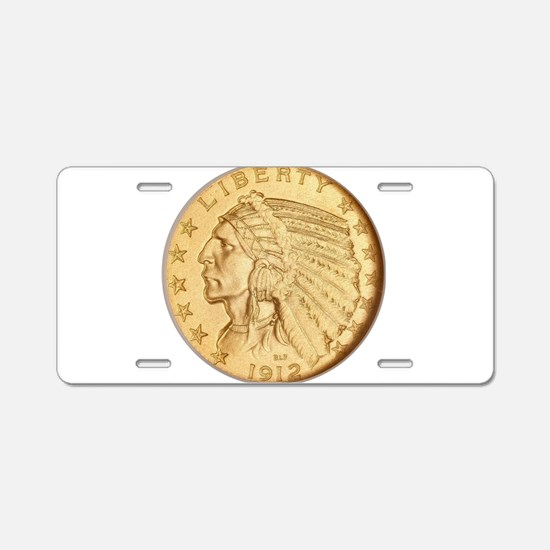 US Gold Coin Indian Head Aluminum License Plate