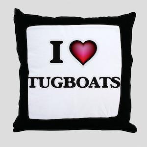 I love Tugboats Throw Pillow