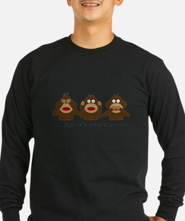 3 Wise Sock Monkeys Long Sleeve T-Shirt