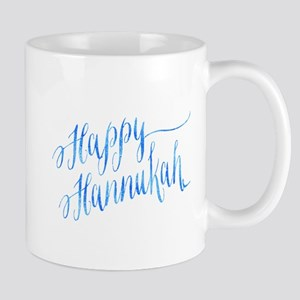 Happy Hannukah Chanukah Hanukkah Blue Faux Fo Mugs