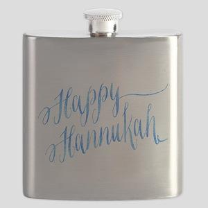 Happy Hannukah Chanukah Hanukkah Blue Faux F Flask