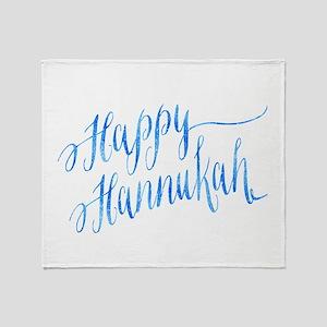 Happy Hannukah Chanukah Hanukkah Blu Throw Blanket
