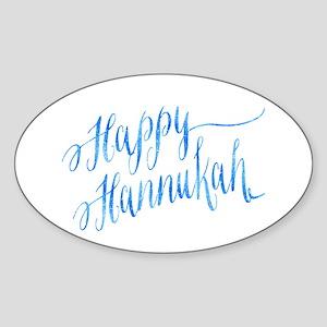 Happy Hannukah Chanukah Hanukkah Blue Faux Sticker